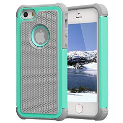 Agrigle 3317622 Hybrid Dual Layer Armor Defender Full Body Protective Agrigle Shock- Absorption Case for iPhone 5/5S (Gray/Green)