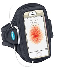 Armband for iPhone SE, 5, 5s, 5c, 4, 4S with OtterBox Defender, Commuter or Other Large Case – Great for Running, Workouts & Exercise [Black]