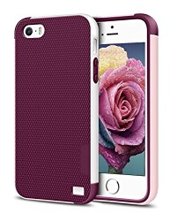 iPhone 5/5S SE Case, EXSEK Hybrid Impact Ultra Slim 3 Color Dual Layer Shockproof Case [Anti-Slip] [Extra Front Raised Lip] Scratch Resistant Soft Gel Bumper Rugged Case for iPhone 5/5S (Wine Red)