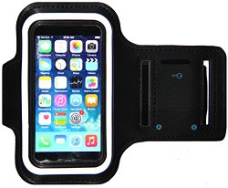 iPhone 5/5S/5c SE Running & Exercise Armband with Key Holder & Reflective Band | Also Fits iPhone 4/4S (Black)