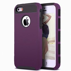 iPhone 5s Case,iPhone SE Case,iPhone 5 Case,by Ailun,Rubber Oil Non-Slip Matte Coating,Soft TPU Bumper&Hard Shell Solid PC Back,Shock-Absorption&Anti-Scratch Hybrid Dual-Layer Slim Cover[Purple]