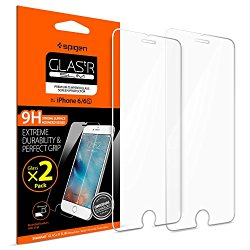 iPhone 6 Screen Protector, Spigen® [2 Pack] [Tempered Glass] iPhone 6 / 6S Glass Screen Protector [Easy-Install Wings] Rounded Edge [Lifetime Warranty]