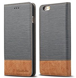 iPhone 6/6s 4.7″ Case,WenBelle Blazers Series,Stand Feature,Double Layer Shock Absorbing Premium Soft PU Color matching Leather Wallet Cover Flip Cases For apple iPhone 6 6s 4.7 inch Vitality Grey