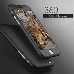 iPhone 6/6S Case, Ipaky [Thin Fit] Exact-Fit [Black] Premium Matte Finish Dual Layer Hard Case for iPhone 6 with Tempered Glass Screen Protector for iPhone 6/6S 4.7 [Black]