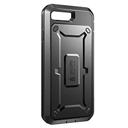 iPhone 7 Case, SUPCASE Full-body Rugged Holster Case with Built-in Screen Protector (Black/Black)