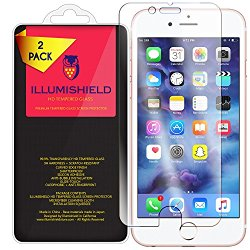 iPhone 7 Plus Screen Protector [2-Pack], iLLumiShield HD Clear Tempered Ballistic Glass Screen Protector for iPhone 7 Plus 9H Hardness Anti-Bubble Shield – Lifetime Warranty