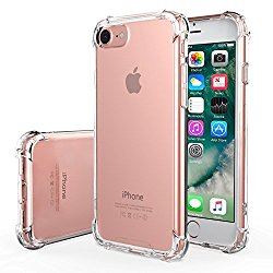 iPhone 7 Case – MoKo Advanced Shock-absorbent Scratch-resistant Cover Case with Transparent Hard PC Back Plate and Flexible TPU Gel Bumper for Apple iPhone 7 4.7 Inch 2016 Release, Crystal Clear