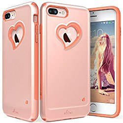 iPhone 7 Plus Case, Vena [vLove][Heart-Shape | Dual Layer Protection] Hybrid Bumper Cover for Apple iPhone 7 Plus (5.5″-inch) (Rose Gold/Coral Pink)