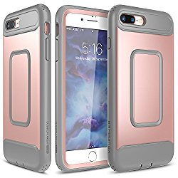 iPhone 7 Plus Case, YOUMAKER Full-body Rugged Case with Built-in Screen Protector for Apple iPhone 7 Plus (2016) 5.5 inch – Rose Gold/Gray
