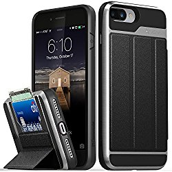 iPhone 7 Plus Wallet Case, Vena [vCommute] Flip Leather Back [Card Slot Holder][Smart Cover KickStand] Heavy Duty Cover for Apple iPhone 7 Plus 5.5″ (2016) – Black/Space Gray