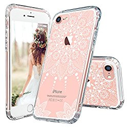 iPhone 7 Case, iPhone 7 Clear Case, MOSNOVO White Henna Mandala Floral Lace Clear Design Printed Plastic with TPU Bumper Protective Back Phone Case Cover for Apple iPhone 7 (4.7 Inch)