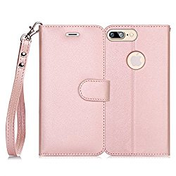 iPhone 7 Plus Case, FYY [RFID Blocking wallet] 100% Handmade iPhone 7 Plus Wallet Case Stand Cover With Credit Card Protector Rose Gold