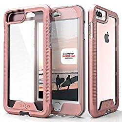 Zizo ION Series Military Grade Triple Layered Case with Tempered Glass Screen Protector for iPhone 7 Plus / 6 / 6s Plus – Rose Gold/Clear
