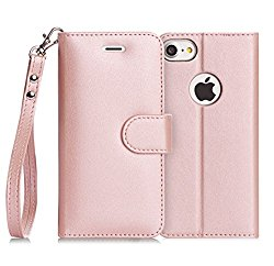iPhone 7 Case, FYY [RFID Blocking wallet] 100% Handmade iPhone 7 Wallet Case Stand Cover With Credit Card Protector Rose Gold