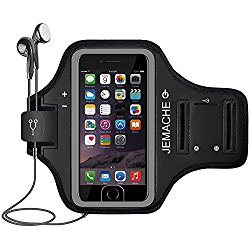 iPhone 7 Armband, JEMACHE Fingerprint Touch Supported Sports Running Exercise Gym Arm Band Case for iPhone 7 with Card Pockets and Key Slot (Black)