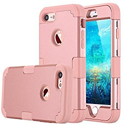 iPhone 7 Case, LONTECT Hybrid Heavy Duty Shockproof Full-Body Protective Case with Dual Layer [Hard PC+ Soft Silicone] Impact Protection for Apple iPhone 7 – Rose Gold