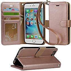 Arae PU Leather Flip Folio Kickstand Wallet Case with Card Slots for iPhone 6 / 6S – Rose Gold