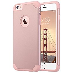 iPhone 6 Plus Case, iPhone 6S Plus Case, ULAK Slim Dual Layer Protective Case Fit for Apple iPhone 6 Plus (2014) / 6S Plus(2015) 5.5 inch Hybrid Hard Back Cover and Soft Silicone-Rose Gold