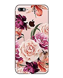 iPhone 7 Plus Case with flowers, Hepix Clear Floral Pattern Soft Flexible TPU Back Cover[5.5 inch]