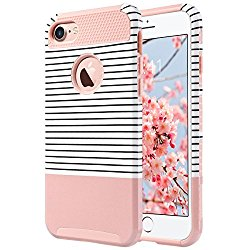 iPhone 7 Case,ULAK [Colorful Series] Slim Hybrid Dual Layer [Scratch Resistant] Hard Back Cover [Shock Absorbent] TPU Bumper Case for Apple iPhone 7 [4.7 inch] Rose Gold/Black Stripe