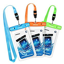 Mpow Waterproof Case, Universal Dry Bag Waterproof Phone Bag Pouch for Devices up to 6.0″ 3-Pack