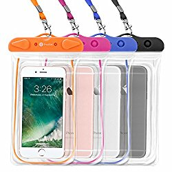 Waterproof Case, 4 Pack F-color Universal Clear Waterproof Pouch Dry Case Compatible with iPhone 7 7 Plus Home Button for iPhone, Google Pixel XL, Samsung, HTC, LG, Floating, Blue Black Orange Pink