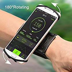iPhone 7 Plus/ 6S/ 6/ 5S Sports Armband, VUP+ Workout Forearm Wristband Phone Holder 180°Rotatable for Running Cycling Gym Jogging, Suitable for Samsung S7 S6 edge/Galaxy S5 (For 4″ to 5.5″ Phone)