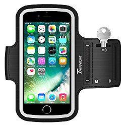 Trianium Armband for Smaller Phone Sport Running Pouch Case Fit phone diagonal size up to 5.85″ For iPhone 7 6s 6, iPhone SE 5S 5 5C, Galaxy s8 s7 s6 s5 [ArmTrek Classic Black]