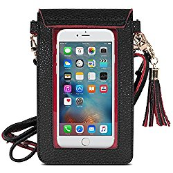 Cell Phone Bag, MoKo PU Leather Crossbody Bag Mini Phone Pouch with Shoulder Strap for iPhone 8, 7 Plus, 6S Plus, 6 Plus, 7, 6S, 6, 5S, 5C, Samsung S8, S7 Edge, S6 Edge+, S6, J3, J7, Black+Red