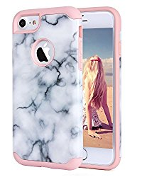iPhone 7 Case, Imikoko™ Hrbrid Protective Soft Silicone With Hard White Marble Case Shock Absorbing Slim Thin Cute Case Cover Plastic Shell For iPhone 7 (White Marble/Rose Gold)