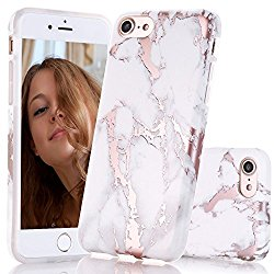 iPhone 7 Case, iPhone 8 Case,Shiny Rose Gold White Marble Design, BAISRKE Clear Bumper Matte TPU Soft Rubber Silicone Cover Phone Case for iPhone 7 (2016) / iPhone 8 (2107)