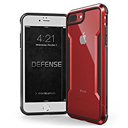 iPhone 7 Plus Case, X-Doria Defense Shield Series – Military Grade Drop Tested, Anodized Aluminum, TPU, and Polycarbonate Protective Case for Apple iPhone 7 Plus, [Clear/Red]