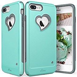 iPhone 8 Plus Case, iPhone 7 Plus Case, Vena [vLove][Heart-Shape | Dual Layer Protection] Hybrid Bumper Cover for Apple iPhone 8 Plus, iPhone 7 Plus (5.5″-inch) (Teal/Gray)