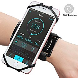 Matone iPhone 7/7 Plus/6/6S Plus Wristband, 180°Rotatable Phone Holder Forearm Armband Ideal for Jogging Running Compatible with Samsung Galaxy Note 8/S8/S8 Plus/S7 & 4.0″-6.2″ Smartphone (Black)