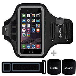 "Sports Armbands for iPhone 7 Plus 6/6s Plus, Galaxy S8/S8 Plus, QUANFUN Fitness Running Workout Gym Jogging Case Holder Arm Band with Extension Strap Wristband for LG G5, Fits 5.5"" to 6.2"" Cell Phones"