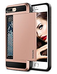 iPhone 7 Plus Case, Vofolen Sliding Card Holder iPhone 7 Plus Wallet Case Cover ID Slot Dual Layer Protective Hard Shell Soft TPU Rugged Bumper Armor tough casing for iPhone 7 Plus 8 Plus – Rose Gold