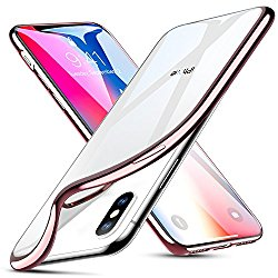 ESR Crystal Clear Soft TPU iPhone X Case, Thin Fit Transparent Flexible Premium TPU Cover [Support Wireless Charging] for Apple 5.8″ iPhone X (2017 Release)(Rose Gold)