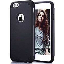 iPhone 6s Case,iPhone 6 Case,by Ailun,Soft Interior Silicone Bumper&Hard Shell Solid PC Back,Shock-Absorption&Skid-proof,Anti-Scratch Hybrid Dual-Layer Slim Cover[Black]