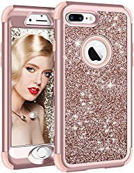 iPhone 8 Plus Case, Vofolen iPhone 8 Plus Case Glitter Bling Shiny Heavy Duty Protection Full-body Protective Hard Shell Rubber Bumper Armor with Front Cover for iPhone 8 Plus iPhone 7 Plus -Rose Gold