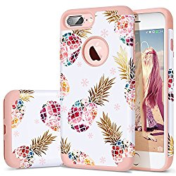 iPhone 7 Plus Case,iPhone 8 Plus Case Pineapple,Fingic Floral Pineapple Ultra Slim Case Hard PC Soft Rubber Anti-Scratch ShockProof Protective Case Cover for iPhone 7/8 Plus,Flower Pineapple/Rose Gold