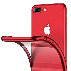 iPhone 8 Plus Case, iPhone 7 Plus Case, RANVOO Ultra Slim Thin Clear Soft Case with Premium Flexible Chrome Bumper and Transparent TPU Back Plate Gel Cover for iPhone 8 Plus / 7 Plus (Crystal Red)