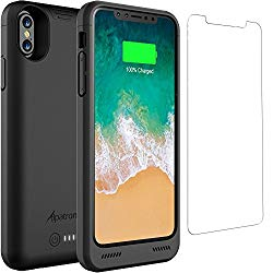 iPhone X/XS Battery Case Qi Wireless Charging Compatible, Alpatronix BXX 5.8-inch 4200mAh Slim Rechargeable Extended Protective Portable Charger Case for iPhone X & XS [Apple Certified Chip] – Black