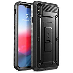 XS Max case, SUPCASE [Unicorn Beetle Pro Series] Full-Body Rugged Holster Case with Built-In Screen Protector (Black)