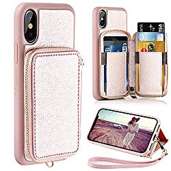 iPhone XS Wallet Case, iPhone X Wallet Case, ZVE iPhone X/XS Case with Credit Card Holder Slot Zipper Pocket Purse Handbag Protective Cover for iPhone XS (2018)/ Apple iPhone X (2017) -Rose Gold