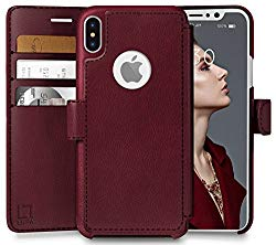 LUPA iPhone X Wallet Case, Durable and Slim, Lightweight with Classic Design & Ultra-Strong Magnetic Closure, Faux Leather, Burgundy, for Apple iPhone Xs/X