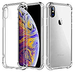 MoKo Compatible with iPhone Xs Case/iPhone X Case, Crystal Clear Reinforced Corners TPU Bumper, Anti-Scratch Rugged Cover Fit with Apple iPhone Xs 2018 / iPhone X 2017 5.8 Inch – Crystal Clear