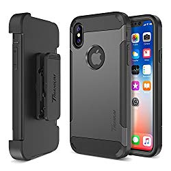 Trianium Duranium Series Holster Case Designed for Apple iPhone XS/X (2018, 2017) Case with Heavy Duty Full-Body Protection/Built-in Screen Protector/Belt Clip Holder with Kickstand – Gunmetal