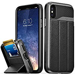 Vena iPhone XS/X Wallet Case, [vCommute][Military Grade Drop Protection] Flip Leather Cover Card Slot Holder with Kickstand for Apple iPhone XS 2018 / X 2017 5.8″ (Space Gray/Black)