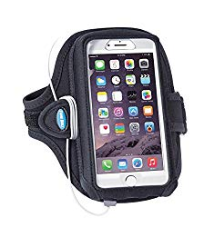 Armband Compatible With Cases on iPhone Xs Max, Xr, 8 7 6s 6 PLUS, Galaxy S8 S9 Plus and Note 8 9; Fits OtterBox Commuter/Defender/LifeProof – For Running & Working Out – Sweat-Resistant [Black]