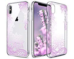 Casetego Compatible iPhone XS Max Case,Clear Soft Flexible TPU Case Rubber Silicone Skin with Flowers Floral Printed Back Cover for Apple iPhone XS Max 6.5″ 2018,Purple Flower